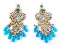 Huge Bollywood Style Rhinestone Drop Earrings.